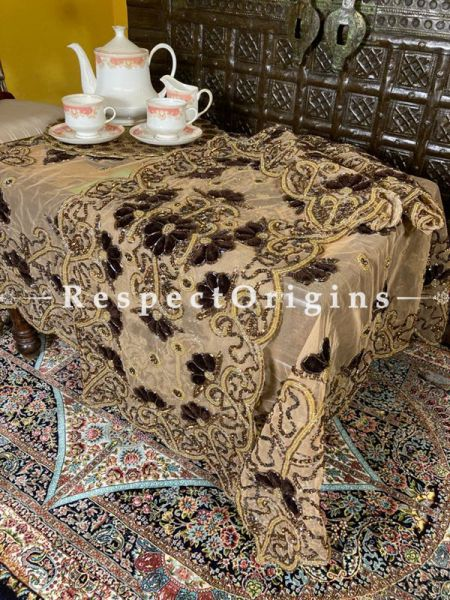 Black-Golden Beadwork & Sequins on Beige Coloured Handmade & Embellished Dining Table- Runner with 4 Mat Set; RespectOrigins.com