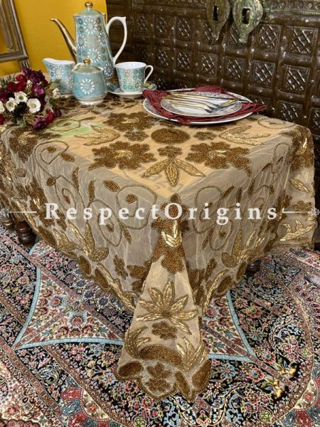 Christmas n Holiday Dinners on Gold n Coppertones Handcrafted Tablecloth in Beadwork on Net; RespectOrigins.com