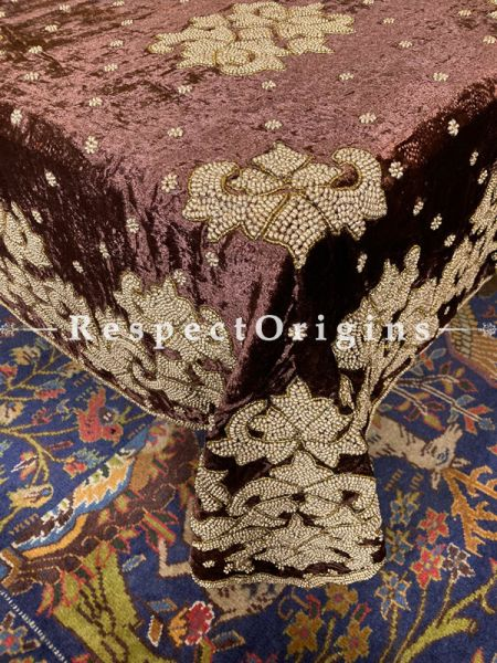 Rich Chocolate Velvet Embellished with Beige n Gold Beads; Rectangular Dining Table-cloth Gift; RespectOrigins.com