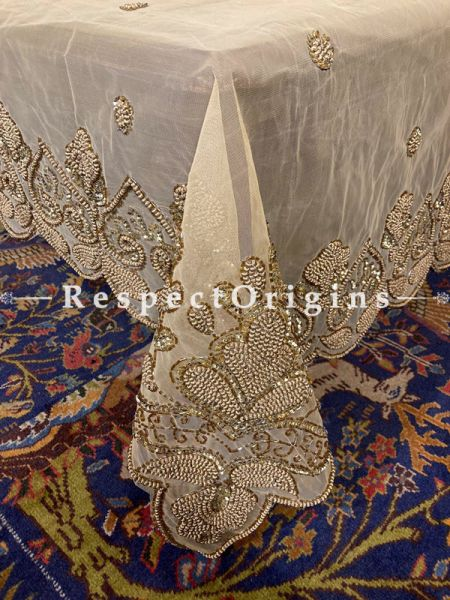 Elegant Net Dining Tablecloth embellished with Beige Beads and Sequins for Holiday of Formal Occasions; RespectOrigins.com