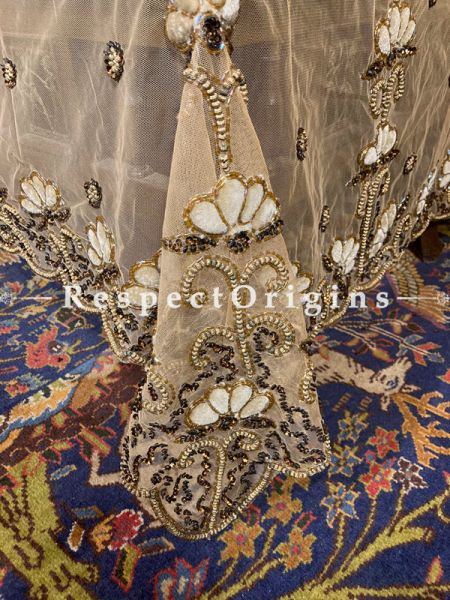Hand-embroidered Gorgeous Creamy Flowers on a Beige Net Dining Table-cloth with beadwork and embellishments.; RespectOrigins.com
