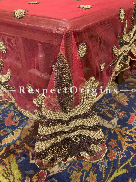 Luscious Red Christmas Holiday Party Dining Table-cloth embellished with Beige Beadwork and Sequins; Great Gift; RespectOrigins.com