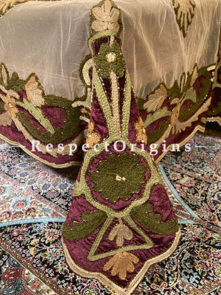 Green Beadwork & Sequins on Beige Coloured Handmade & Embellished Dining Table- Runner with 4 Mat Set; RespectOrigins.com