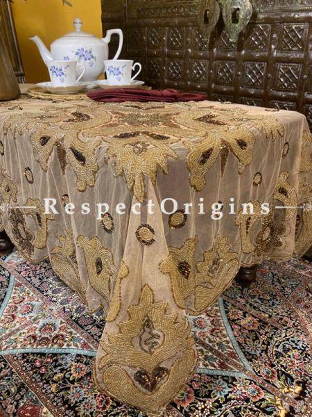Beige Handcrafted Luxury Table Cloth in Net w/ fabulous Beadwork in Coppertones; RespectOrigins.com