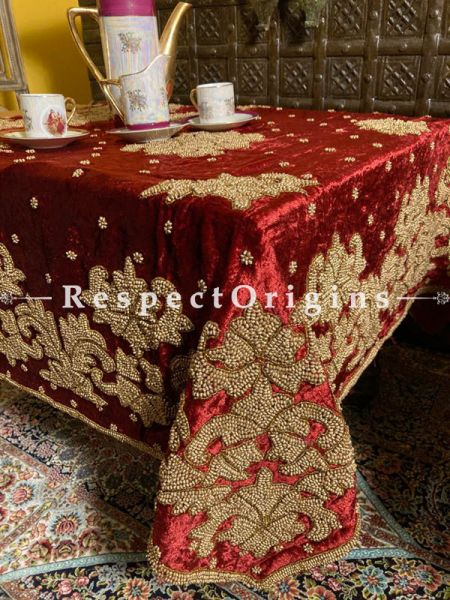 Velvet Red Christmas Holiday Party Dining Table-cloth embellished with Beige Beadwork and Sequins; Great Gift; RespectOrigins.com