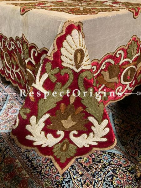 Opulent Velvet Handcrafted Embroidered Patchwork on Beige Net Christmas Holiday Party Dining Table-cloth; Great Gift; RespectOrigins.com