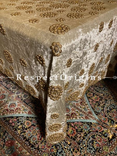 Ivory Velvet Christmas Holiday Party Dining Table-cloth embellished with Beige Beadwork and Sequins; Great Gift; RespectOrigins.com