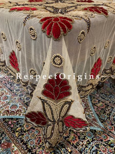 Gorgeous Red Velvet Flowers on Beige Net; Christmas Holiday Party Dining Table-cloth embellished with Beadwork and Sequins; Great Gift; RespectOrigins.com
