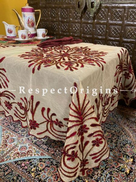 Red on Beige Christmas Holiday Party Dining Table-cloth embellished with Beadwork and Sequins; Great Gift; RespectOrigins.com