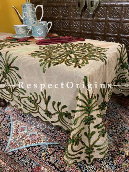 Green on Beige Christmas Holiday Party Dining Table-cloth embellished with Beadwork and Sequins; Great Gift; RespectOrigins.com