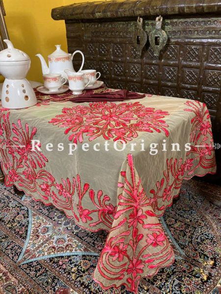 Pink on Beige Christmas Holiday Party Dining Table-cloth embellished with Beadwork and Sequins; Great Gift; RespectOrigins.com