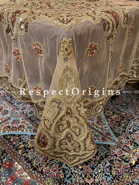 Decadent Beige Christmas Holiday Party Dining Table-cloth embellished with Beadwork and Copper-tone Sequins; Great Gift; RespectOrigins.com