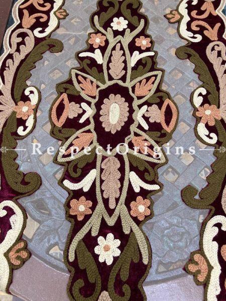 Beige Net base with delicate Beadwork & Sequins Vintage Table Runner ; RespectOrigins.com
