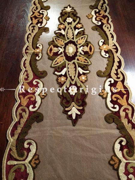 Buy Handcrafted Vintage Table Runner; Velvet; Applique Work; 58x18 in At RespectOrigins.com