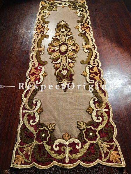 Buy Vintage Table Runner; Velvet; Applique Work; Handcrafted 58x18 in At RespectOrigins.com