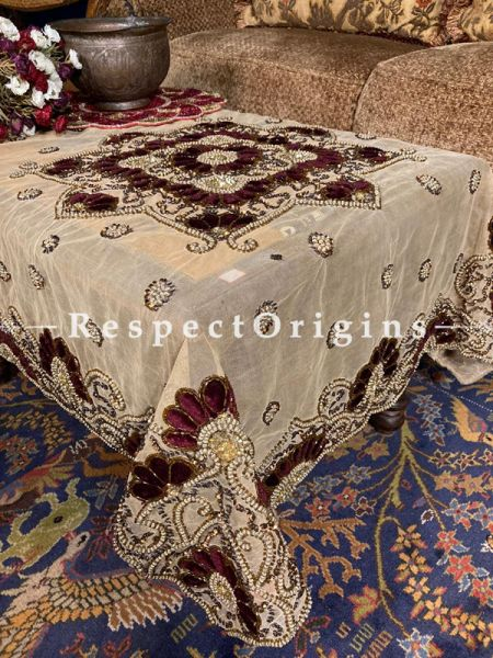 Designer Square Table Cover on Beige Net with Beadwork, Velvet Petals, 40x40 in; RespectOrigins.com