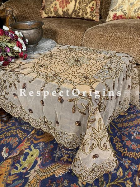 Beautiful Square Table Cover on Beige Net with Beadwork, 40x40 in; RespectOrigins.com