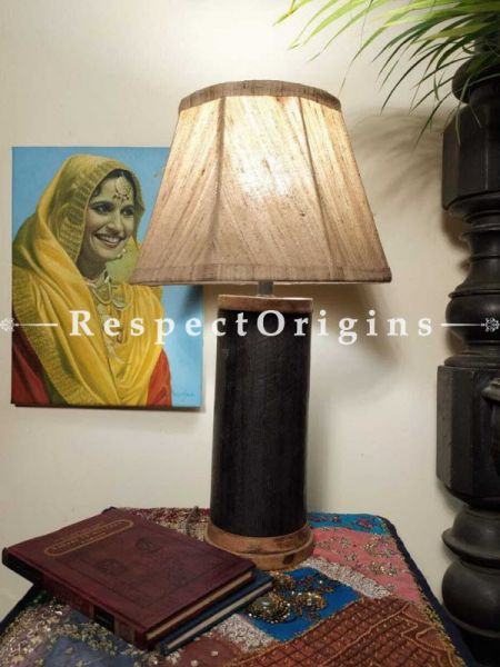 Buy Cylindrical Brown Wooden Lamp with Brass Trimming At RespectOrigins.com