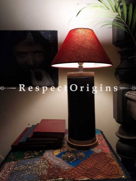 Buy Cylindrical Wooden Lamp with Brass Trimming At RespectOrigins.com