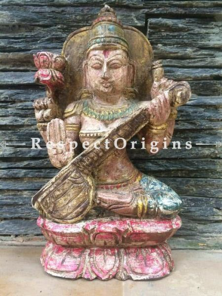 Buy Saraswati Idol, Tamil Nadu Wood Craft Online at RespectOrigins
