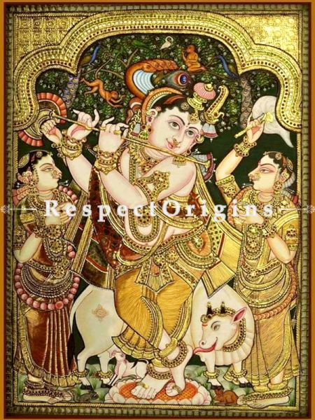 Tanjore Painting with 22k Gold Foiling; RespectOrigins.com
