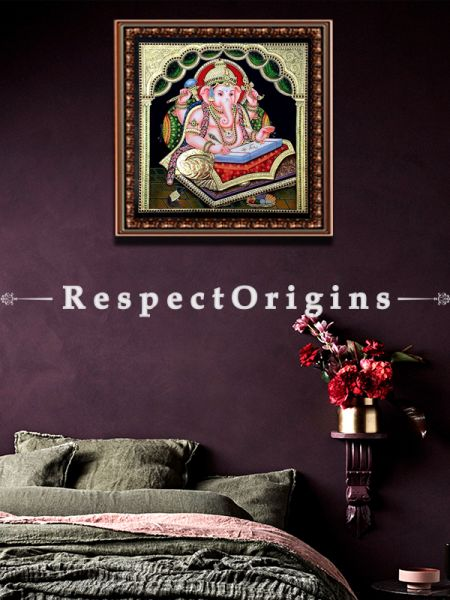 Ganesha Tanjore Painting with 22k Gold Foiling; RespectOrigins.com