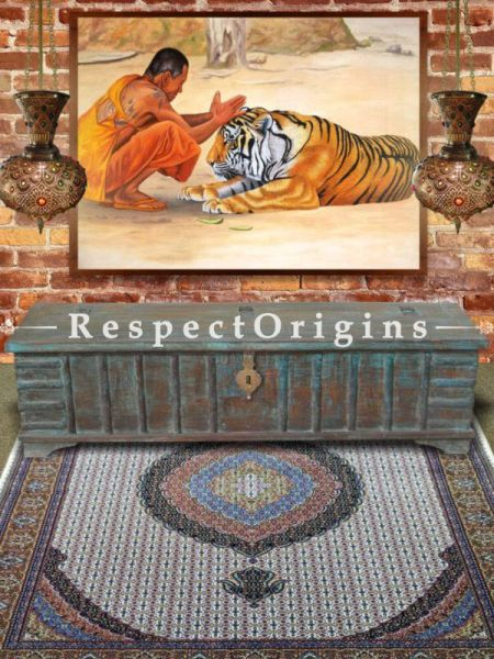 Buy Long Boho Teak Coffee Table in Distressed Blue Wood With Storage At RespectOrigins.com