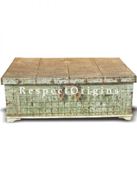 Buy Teak Iron Fitted Box Cum Coffee Table In 57X36X21 Inches; Respectorigins.com