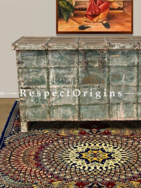 Buy Teak Wood Green Distressed Vintage Dowry Chest Cum Console With Ironwork At RespectOrigins.com