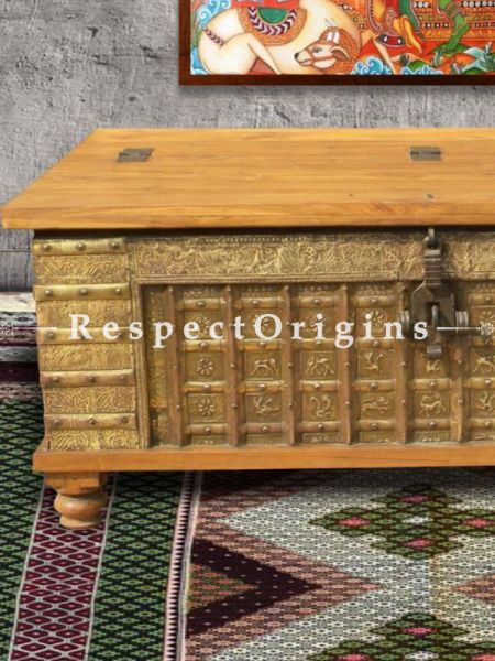 Buy Coffee Table Treasure Chest; Natural Hand Carved Embellished with Iron Bolts on Teak Wood At RespectOrigins.com