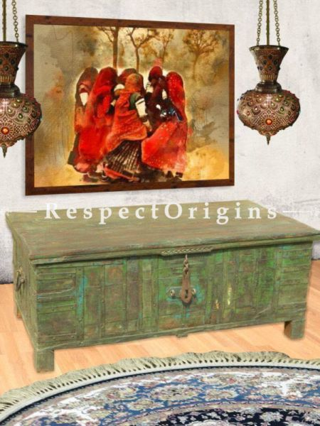 Buy Vintage Green Teak Wooden Treasure Chest or Coffee Table. Distressed Finish At RespectOrigins.com