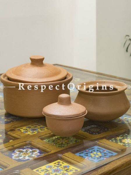 Buy Set of 3 Terracotta Cooking Utensil with Lid and a Curd Bowl At RespectOrigins.com