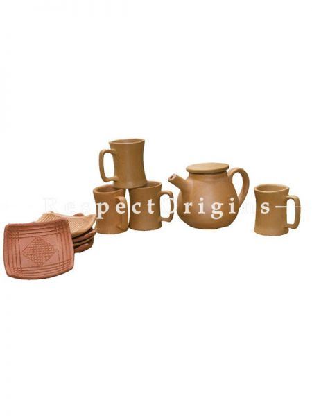 Buy Set of Terracotta Kettle with 4 Coffee Mug(150 ml) and 5 plates At RespectOrigins.com