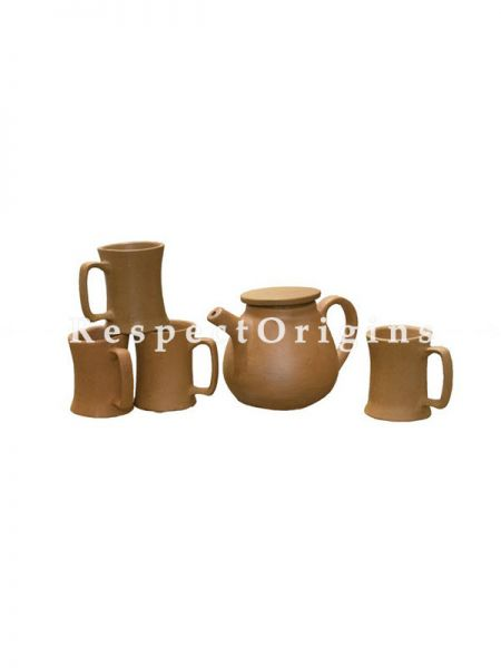Buy Set of 4 Terracotta Coffee Mugs (150 ml) and Kettle At RespectOrigins.com