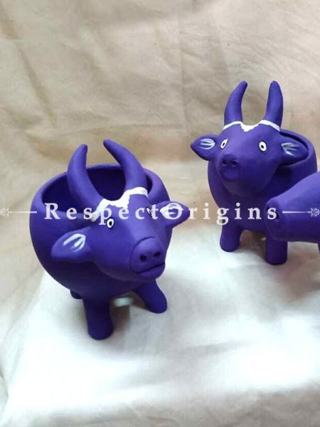 Buy Set of 3 Handmade Terracotta Planters in Buffalo Design in Purple At RespectOrigins.com