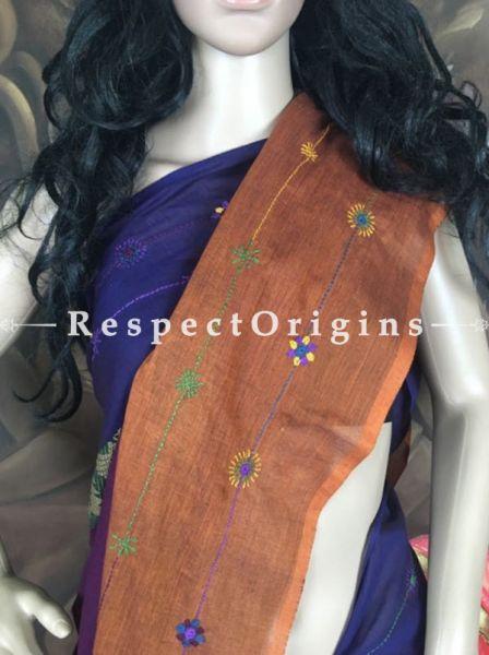 Navy n Rust; Embroidered Lambani Sarees; Hand-loomed; RespectOrigins.com