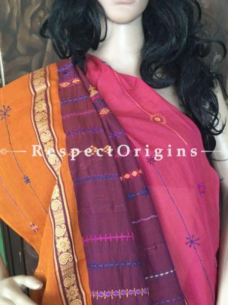 Maroon n Rust; Hand Embroidered Lumbani Saree; Hand-loomed; RespectOrigins.com