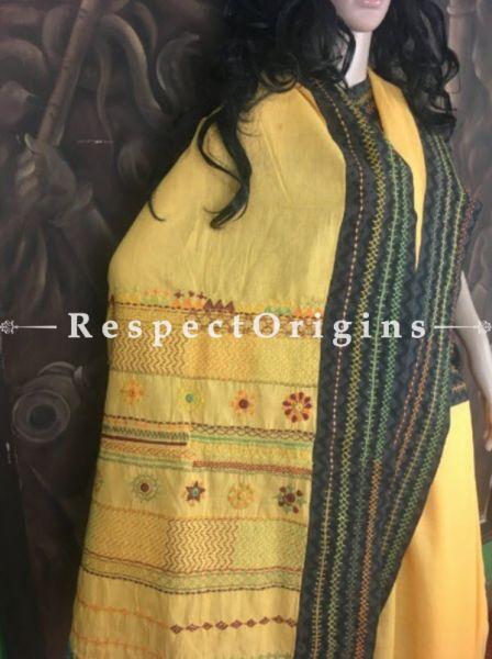 Yellow n Black; Hand Embroidered Lambani Saree; Hand-loomed Cotton Silk; RespectOrigins.com