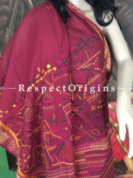 Deep Red; Hand Embroidered Lambani Saree; Hand-loomed Cotton Silk; RespectOrigins.com