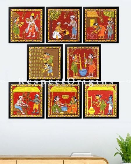 Buy Set of 8 Cheriyal indian Art Scroll Paintings of Village Scenes on Canvas; Square 8X8 inches;RespectOrigins