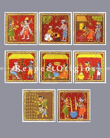 The Way We Were; Set of 8 Cheriyal indian Art Scroll Paintings on Canvas; Square 8x8 in; Traditional Painting