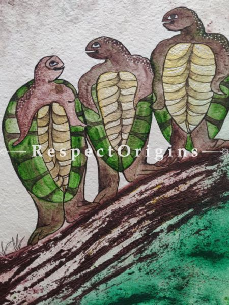 Three Turtles With Mount; Mix Media On Paper Painting; 24 X 17 Inches; RespectOrigins.com