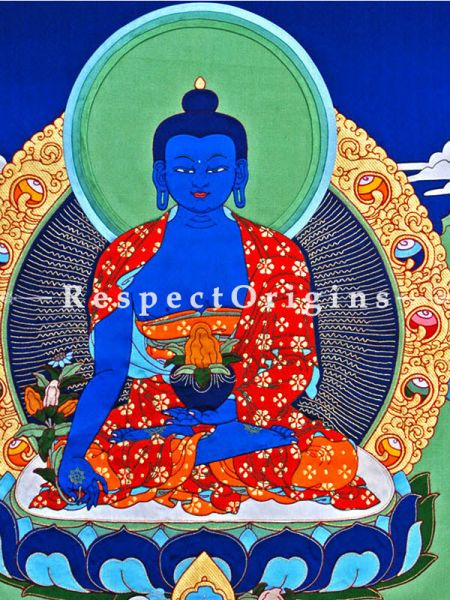 Medicine Buddha Vertical Large Tibetan Thangka Wall Art in A Traditional Silk Brocade Border Finished Size With Border Is 36x28 in.