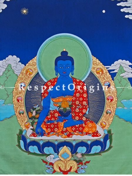 Buy Medicine Buddha-Traditional Tibetan Silk Applique Work Wall Art Online at RespectOrigins.com