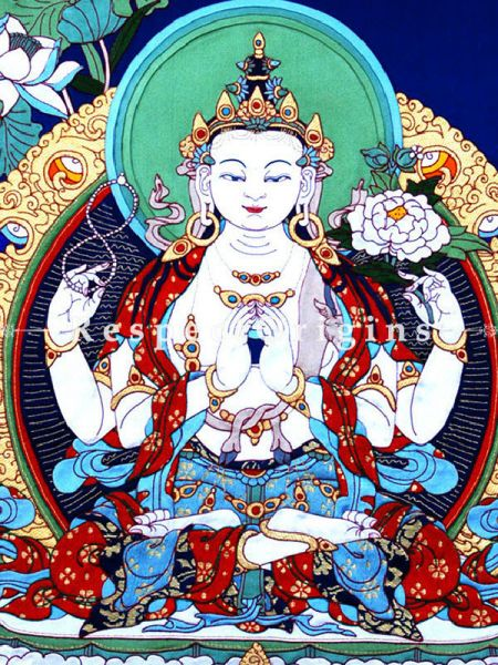 Large Buddhist Avalokitesvara Thangkha Painting with Traditional Silk Brocade Border Finished Size With Border Is 36x28 in.