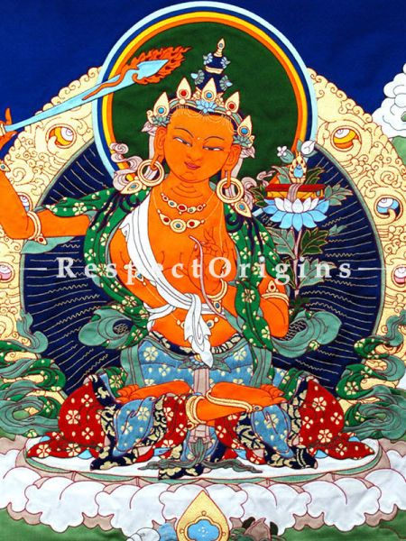 Manjushri Vertical Large Tibetan Thangka Wall Art in A Traditional Silk Brocade Border Finished Size With Border Is 36x28 in.