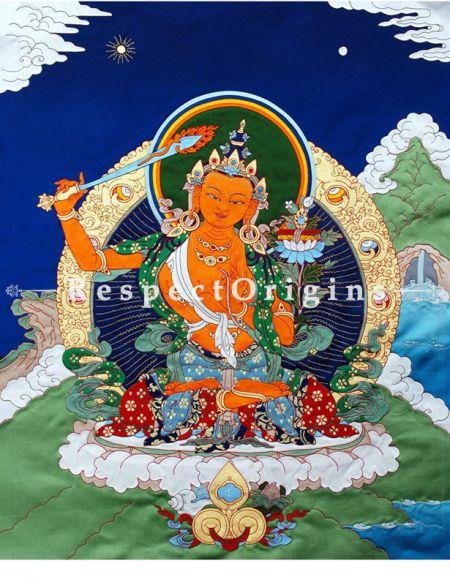 Buy Manjushri-Traditional Tibetan Silk Applique Work Wall Art Online at RespectOrigins.com