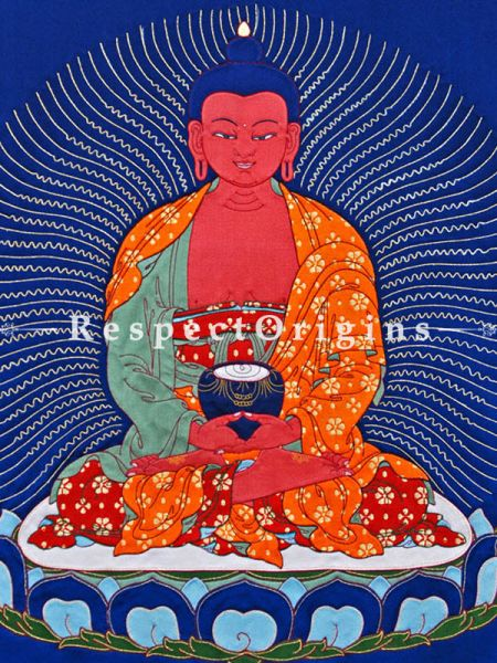 Buddha Amitabha Large Thangkha with a traditional Silk Brocade Border in 36x28 in.