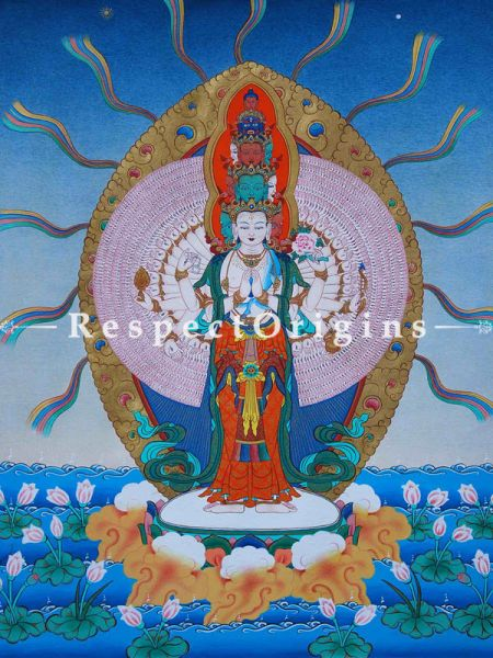 1000-Armed Avalokitesvara Vertical Large Tibetanthangka Painting Adorned With 24K Gold Paint Framed in A Traditional Silk Brocade Border Finished Size With Border Is 36x28 in.