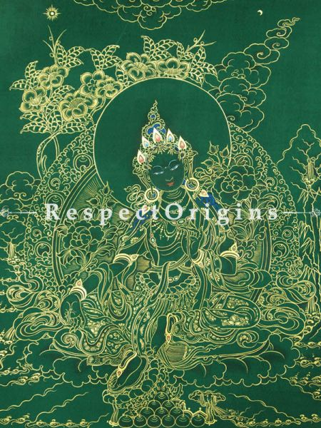 Green Tara Vertical Large Tibetan Thangka Painting Adorned With 24K Gold Paint Framed in A Traditional Silk Brocade Border Finished Size With Border Is 36x28 in.